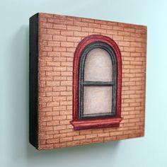 NYC brown brick red window drawing on by LauraKaardalArtist on Etsy  #NewYork City #architecture #city #urban #streetscene #maroon #natural #neutral #brickwall #hertiagebuilding #classic #charm