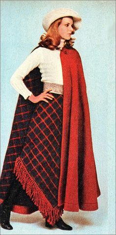 1970 cape and skirt, Bartet Felter hat. Stylbox suit 1970s plaid skirt and cape