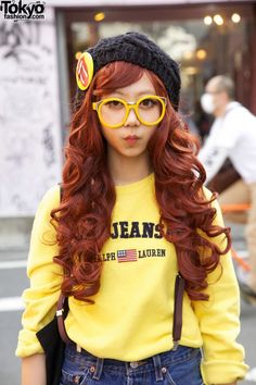 Red-Haired Japanese Girl in Suspender Shorts & Glasses