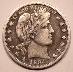 1894-S Barber Half Dollar 50c Choice VF+ Coin with Full Liberty