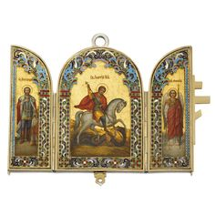 A silver-gilt and cloisonné enamel triptych icon, maker's mark PiK (Cyrillic), St Petersburg, 1908-1917
