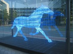 Zwei Pferde für Münster (Two horses for Münster), neon sculpture by Stephan Huber (2002). The second sculpture in the pair is not visible in this photo.