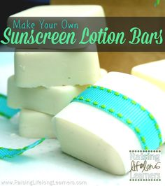 Make Your Own Sunscreen Lotion Bars | I might make a spray with avocado oil, raspberry oil, and the others. RaisingLifelongLearners.com