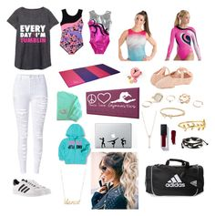 """Every day I'm tumblin"" by watermelon-clo ❤ liked on Polyvore featuring Danskin, Under Armour, Bloch, GUESS, EF Collection, Kate Spade, WithChic, Accessorize, Belk & Co. and adidas"