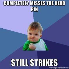 Completely misses head pin... Still strikes