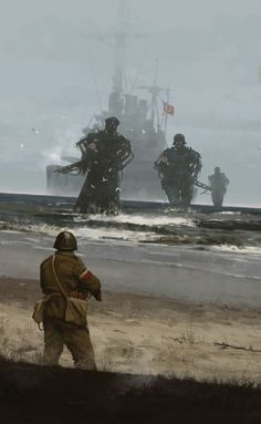 Westerplatte 1939 by Jakub Rozalski - Illustration commemorating the attack of Nazi Germany on Poland, September 1939 and beginning of the WWII. Science Fiction Art, Epic Art, Fantasy Artwork, Sci Fi Art, Pictures, Dieselpunk, Art Pictures, Creepy Art, Dark Fantasy Art