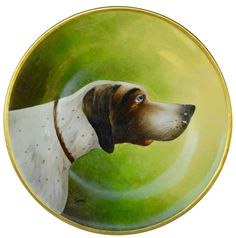 Hunting Dog Plate - French Limoges Porcelain Wall Plate - Hand Painted Hunt Decor by Planchat - Cabin Decoration - Hunting Game