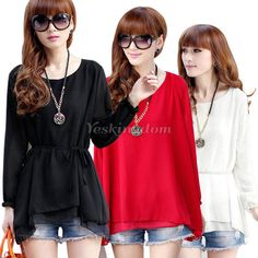 New Womens Ladies Long Sleeve Chiffon Double Layer Loose T-Shirt Tops Blouse