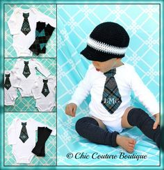 Baby Boy 1st Easter  Preppy Little Man Plaid Set of Leg Warmers & Monogrammed / Personalized Tie Bodysuit Gray / Grey, Black, Aqua, Teal