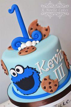 Cookie Monster theme 1st Birthday cake by K Noelle Cakes #BirthdayCakeDecorating