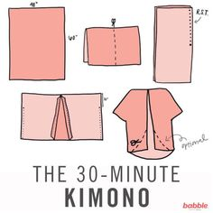 Sewing Projects DIY This Pretty Kimono in Less Than 30 Minutes! // willing to try this if I had money for fabric - Use this easy tutorial to make yourself a stylish and fun kimono for summer in less than 30 minutes! Diy Clothing, Sewing Clothes, Clothing Patterns, Sewing Patterns, Sewing Shirts, Sewing Hacks, Sewing Tutorials, Sewing Crafts, Sewing Projects