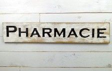 Pharmacie Sign – 40″x8″ Carved in a Cypress Board Rustic Distressed Shop Advertisement Farmhouse Style Pharmacy Wooden Wood French Spelling