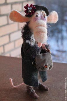 Купить Мадам Кориантес - белый, войлочная крыса, шерсть