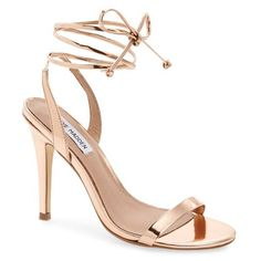 "Steve Madden 'Mysty' Ankle Strap Sandal, 4 1/4"" heel (1.059.935 IDR) ❤ liked on Polyvore featuring shoes, sandals, rosegold, ankle strap shoes, ball shoes, wrap shoes, ankle tie sandals and rose gold sandals"