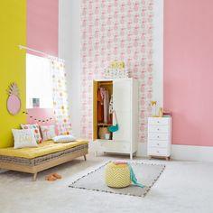 Inspiration idée déco chambre fille décoration miroir ananas mur rose et jaune soleil moutarde chambre enfant lumineuse papier peint motif ananas rose