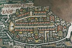 This is Jerusalem, as depicted in the 6th century Madaba map, the oldest map of Palestine known to exist.  This map is located in Madaba, Jordan, about 30 km. south of Amman.  The web site has a detailed explanation of this section of the map, as well as of the entire map.