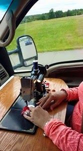 You know you're a craft-aholic when you have a vintage sewing machine set up specifically to use in the car!