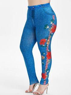 Plus Size Floral Union Flag Print Skinny 3D Jeggings