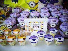 Dressed up treats at a Despicable Me birthday party!  See more party planning ideas at CatchMyParty.com!