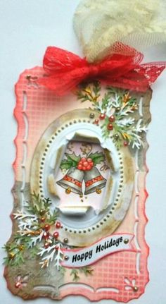 Holiday bell teg by f.schles - Cards and Paper Crafts at Splitcoaststampers Very Merry Christmas, Christmas Tag, Handmade Christmas, Christmas Wreaths, Christmas Ornaments, Xmas Cards, Holiday Cards, Paper Art, Paper Crafts