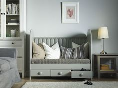 Now the crib is a low sofa that's perfect for gaming with remotes in the drawers instead of onesies.