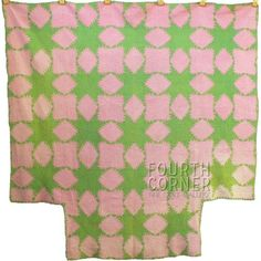 HANDSOME-grand-Four-Poster-FEATHERED-STAR-pink-green-antique-quilt-1800s-7spi