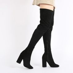 Eve Round Heel Long Boots in Black