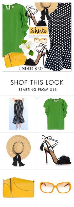 """""""Skirt under $50"""" by mada-malureanu ❤ liked on Polyvore featuring Lanvin, Aquazzura, Elie Saab, Fendi, under50, koogal, koogallove and skirtunder50"""