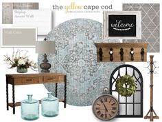 The Yellow Cape Cod: Gray and Blue Farmhouse Foyer Brown And Blue Living Room, Living Room Decor Colors, Living Room White, Living Rooms, Accent Wall Colors, Painted Coffee Tables, Foyer Decorating, Decorating Ideas, Decor Ideas