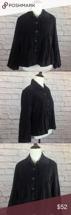 Lucky Brand Blazer Jacket Women Large Black Velvet New with tag; Lucky Brand Blazer Jacket Women Large Black Velvet Purple Lining Bead Button; Purple Satin Lined Sleeves and Black Lined Body; Black Glass Beaded Buttons; 20 inch length; 20 inch across bust; 100% Cotton Lucky Brand Jackets & Coats Blazers