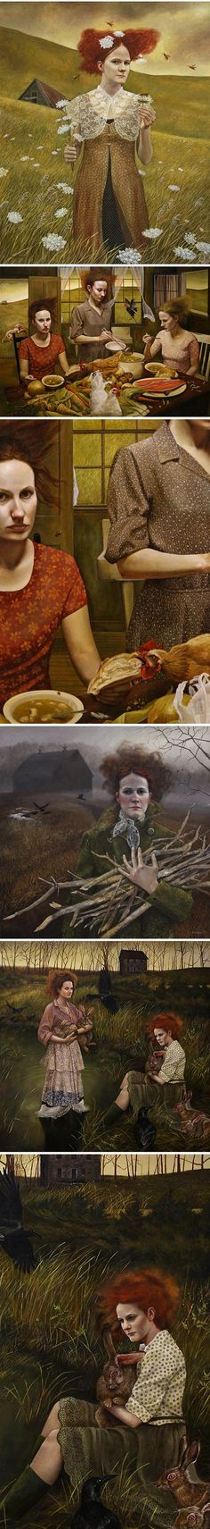Art by Andrea Kowch. There is so much going on in these. Chilling really.