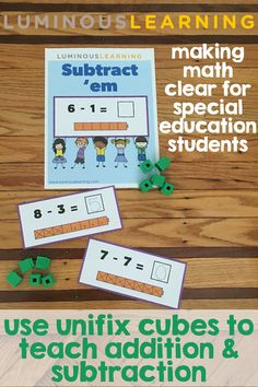 Make math clear: Use unifix cubes to teach addition and subtraction with these games and activities! 1st Grade Math Games, Kindergarten Math Games, First Grade Math, Classroom Activities, Book Activities, Second Grade, Classroom Ideas, Addition And Subtraction Worksheets, Subtraction Activities