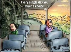 Every day you make a choice, to focus on happy thoughts.or not, and then reap the harvest of your thoughts. Me Quotes, Motivational Quotes, Inspirational Quotes, Motivational Pictures, Pictures With Deep Meaning, Meaningful Pictures, Books For Self Improvement, Make A Choice, Reality Quotes