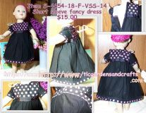 The Top Bodice of this dress, along with the sleeve and skirt hems, are Solid Black with Hot Pink polka dots that measure 1/4 inch in diameter. The Sleeves and Skirt are Solid Black Cotton fabric. A matching black Grosgrain Ribbon band adorns the waist, stitched in hot pink and meeting in the back where the Black Hook & Loop tape secures the dress.  Machine wash and dry with like colors. Warm iron if needed. We recommend using mesh laundry bag for washing items with hook and loop tape. W...