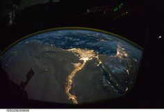 Night view of earth from space. Cairo and Alexandria, Egipt
