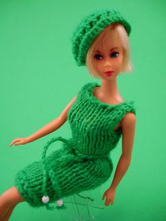 Barbie doll...have vintage clothing knitted and sewn by my Grandma and Aunt.