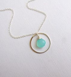 Sterling Silver Eternity Circle Birthstone Necklace -- Bridesmaids Gift --  Choose your stone