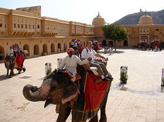 #Amber Fort : #ElephantRide ascent to the #fort in #Jaipur.  #Amber is that the classic romantic #Rajasthani #fort #palace. Its construction was started by Man Singh I in 1592, and completed by his descendent Jai Singh I. Its forbidding exterior belies AN inner paradise wherever a pretty fusion of Mughal and Hindu designs finds it's final expression.