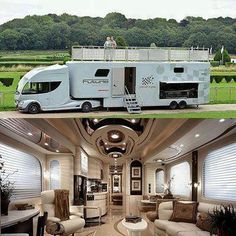 Jealous, Luxury RV/Big Rig/ Car Hauler.... I want this! Except I'd want a different Tractor. (The front part that you drive in)