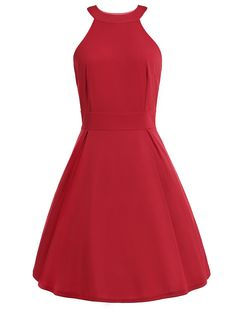 Retro Style Round Neck Flare Dress