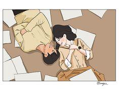 Cute Couple Drawings, Cute Couple Art, Cute Drawings, Cute Couples, Cute Love Cartoons, Cute Cartoon, Couple Illustration, Illustration Art, Chibi Couple