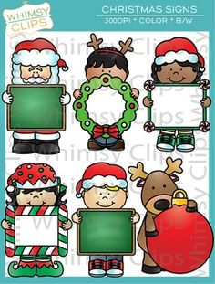 The Christmas Signs clip art set features 6 fun and festive Christmas related kids and characters. This set contains 12 image files, which includes 6 color images and 6 black & white images in png. All images are 300dpi fro better scaling and printing.