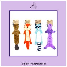 Meet the unstuffed gang, they are stuffing free which makes them safer and less messy for heavy chewers. . Their rough and tough cover is double stitched for extra strength and is made from upcycled plastic bottles. . They are the perfect friend for your dog to wrestle with or cuddle up to.