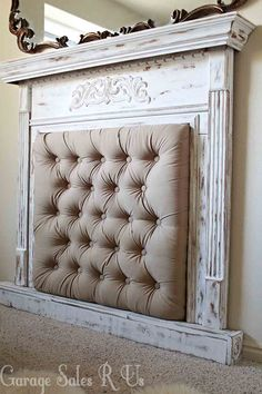 Old fireplace mantle painted and made into a headboard! Awesome ...