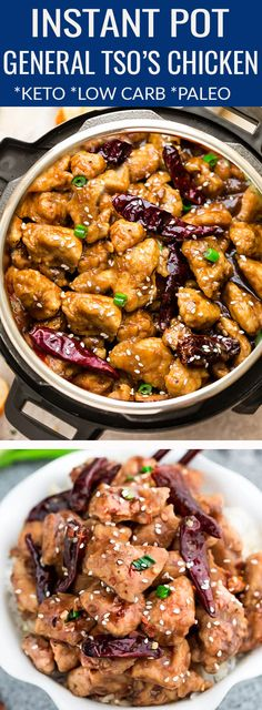 Instant Pot General Tso's Chicken – the perfect easy weeknight meal made in the pressure cooker. Best of all, a ay better & healthier recipe than your local Asian / Chinese takeout restaurant with the…More 8 Indulgent Keto Diet Friendly Instant Pot Ideas Good Healthy Recipes, Paleo Recipes, Low Carb Recipes, Crockpot Recipes, Chicken Recipes, Recipe Chicken, Zoodle Recipes, Pescatarian Recipes, Meal Recipes