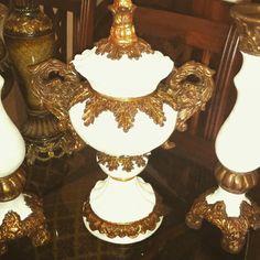 Candelabros con oro blanco y oxido hermosos   Ceramicas