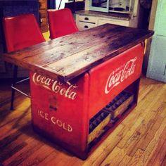 Coca-Cola Island, Please! Coca Cola Cooler, Coke Machine, Coca Cola Decor, Coca Cola Kitchen, Cocoa Cola, Always Coca Cola, World Of Coca Cola, Vintage Coca Cola, Décor Antique