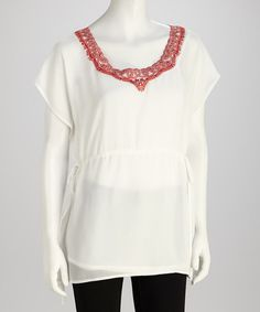 Take a look at this White & Red Embroidered Tunic by Blush by Young Threads on #zulily today!
