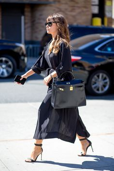Miroslava Duma in all black outfit & w/ Hermes bag | New York Fashion Week Street Style Spring 2016 - #NYFW #StreetStyle