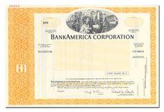 BankAmerica Corporation Stock Certificate (Specimen, Yellow)